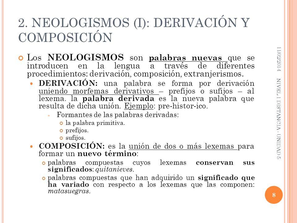 2. NEOLOGISMOS (I): DERIVACIÓN Y COMPOSICIÓN