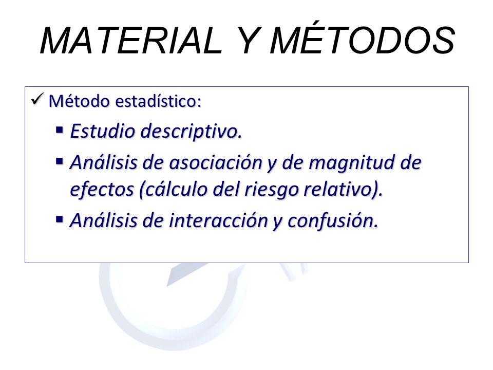 MATERIAL Y MÉTODOS Estudio descriptivo.