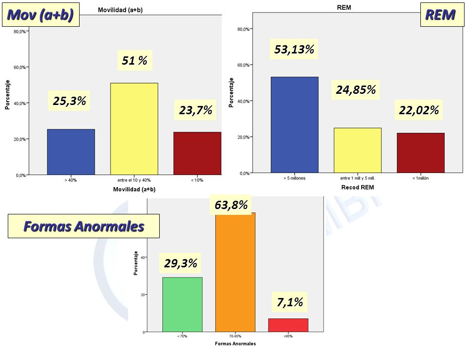 Mov (a+b) REM REM Formas Anormales 53,13% 51 % 24,85% 25,3% 23,7%