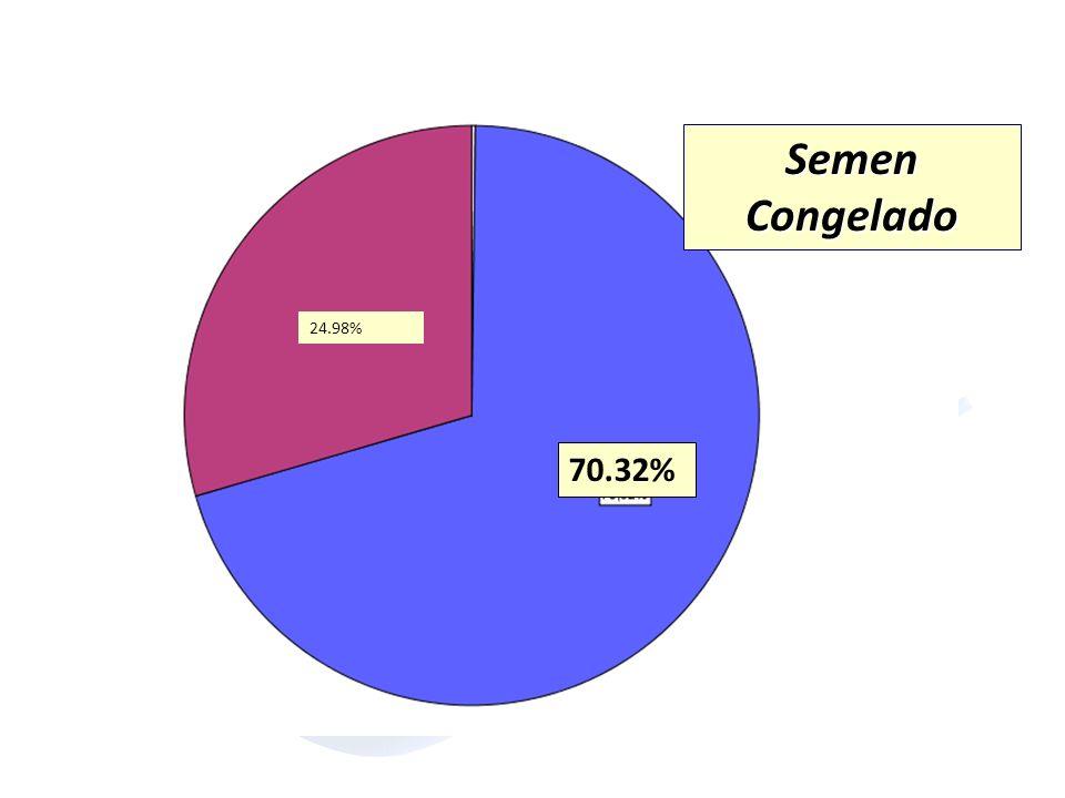 70.32% 24.98% Semen Congelado. La distribución de los parámetros seminales y la procedencia del semen.