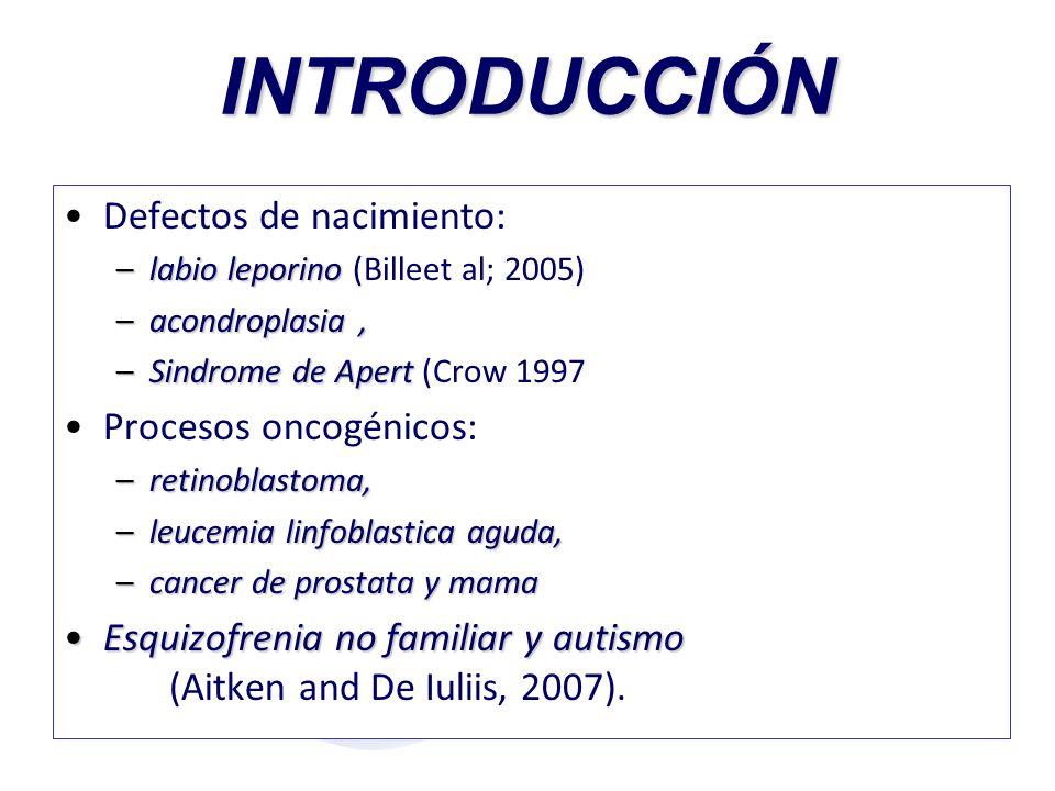 INTRODUCCIÓN Defectos de nacimiento: Procesos oncogénicos: