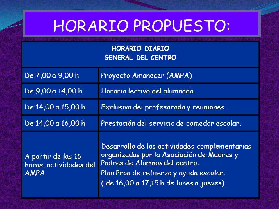 HORARIO PROPUESTO: De 7,00 a 9,00 h Proyecto Amanecer (AMPA)