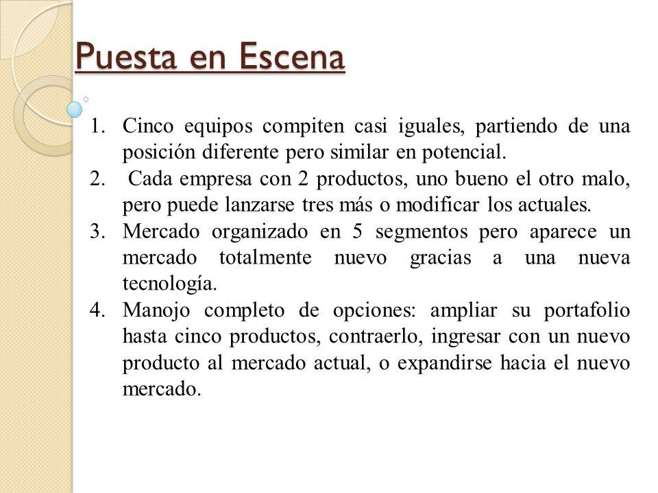 Puesta en EscenaCinco equipos compiten casi iguales, partiendo de una posición diferente pero similar en potencial.