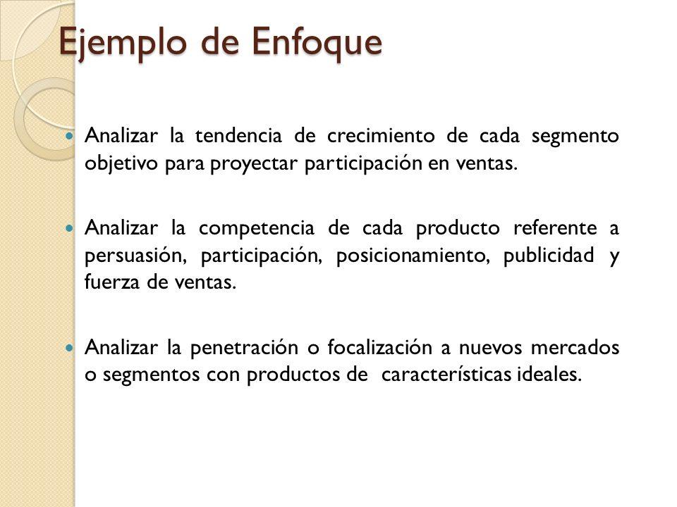 Ejemplo de EnfoqueAnalizar la tendencia de crecimiento de cada segmento objetivo para proyectar participación en ventas.