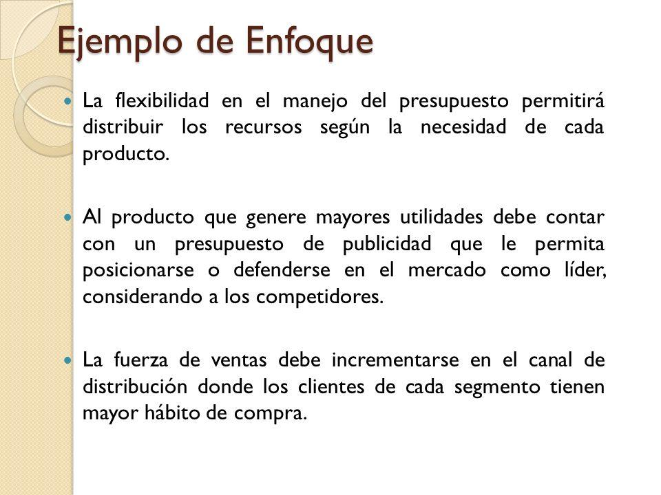 Ejemplo de Enfoque La flexibilidad en el manejo del presupuesto permitirá distribuir los recursos según la necesidad de cada producto.