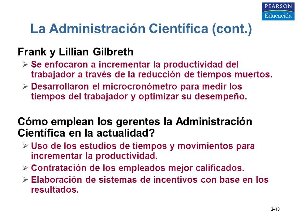 La Administración Científica (cont.)