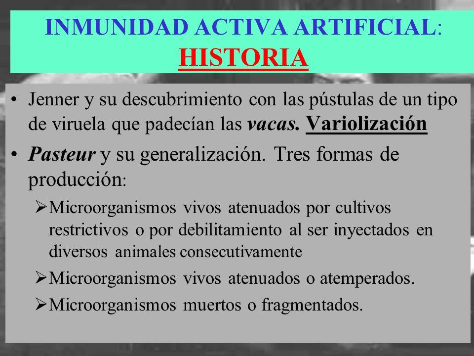 INMUNIDAD ACTIVA ARTIFICIAL: HISTORIA