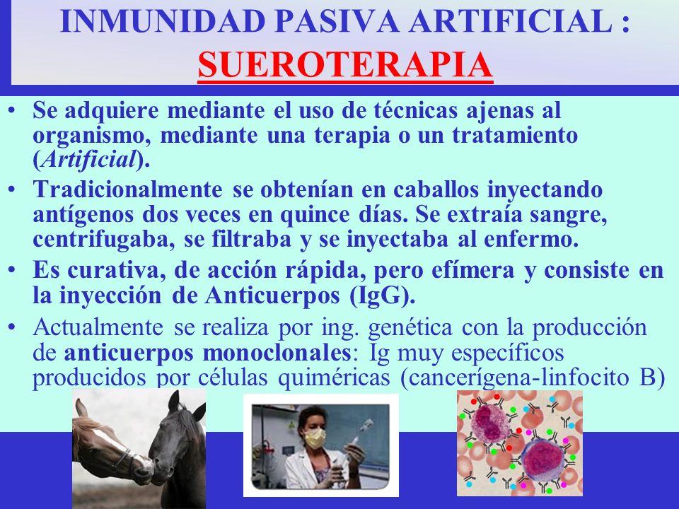 INMUNIDAD PASIVA ARTIFICIAL : SUEROTERAPIA