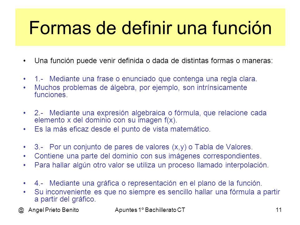 Formas de definir una función