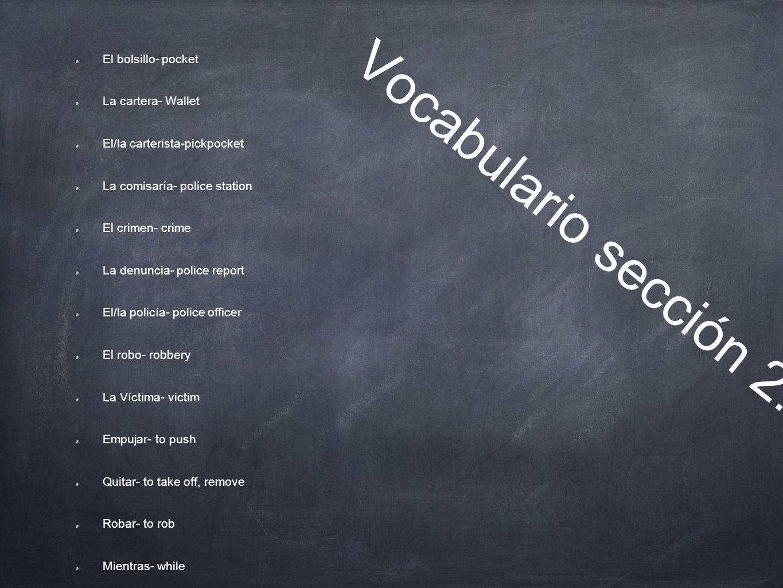 Vocabulario sección 2.2 El bolsillo- pocket La cartera- Wallet