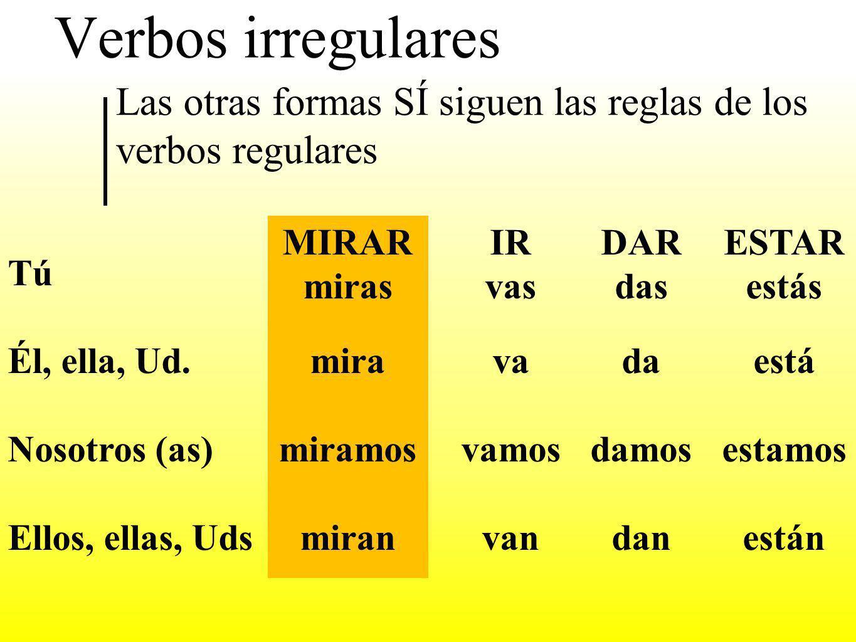 Verbos irregulares Las otras formas SÍ siguen las reglas de los verbos regulares. Tú. Él, ella, Ud.