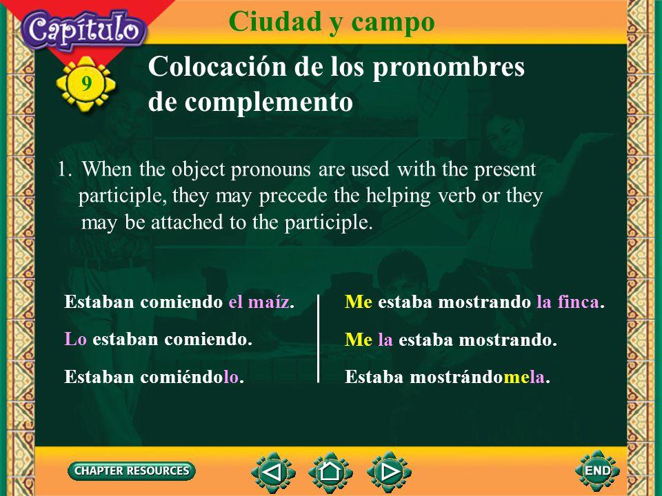 Colocación de los pronombres de complemento