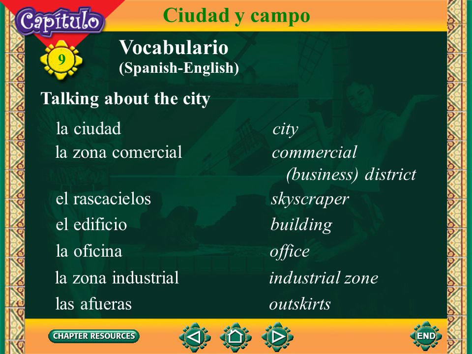Ciudad y campo Vocabulario Talking about the city la ciudad city
