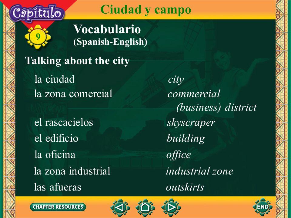 Ciudad y campo Vocabulario Talking about the city la ciudad city