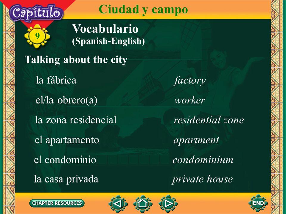 Ciudad y campo Vocabulario Talking about the city la fábrica factory