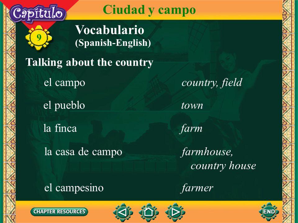 Ciudad y campo Vocabulario Talking about the country el campo
