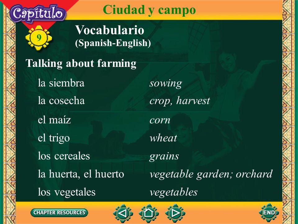 Ciudad y campo Vocabulario Talking about farming la siembra sowing