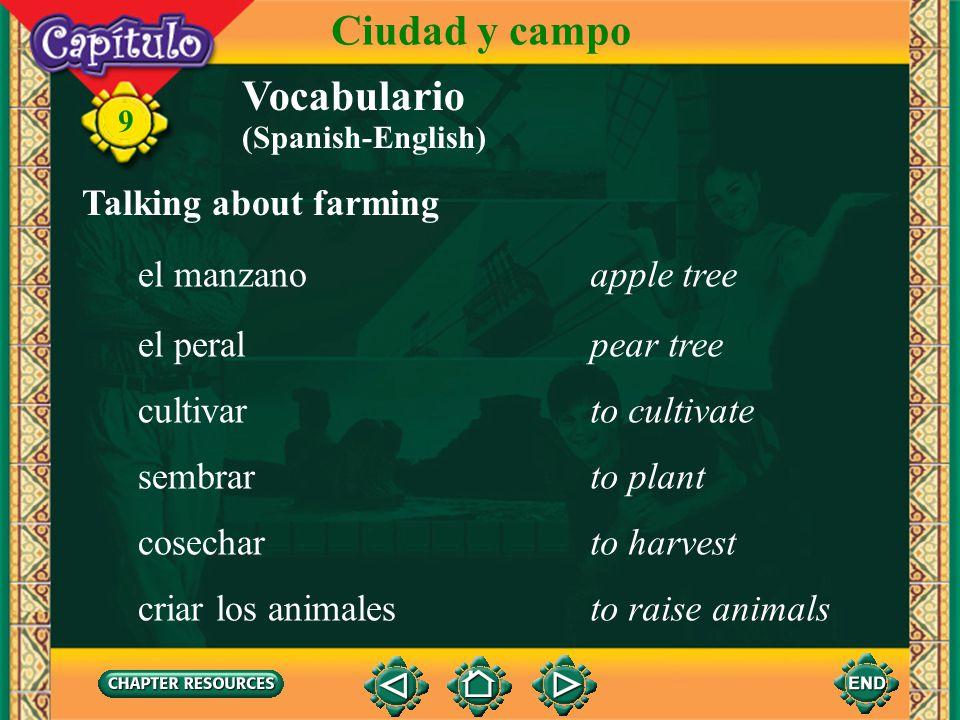 Ciudad y campo Vocabulario Talking about farming el manzano apple tree