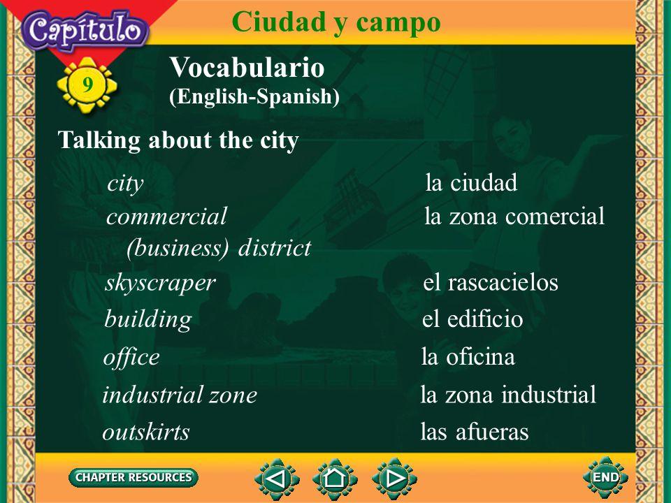 Ciudad y campo Vocabulario Talking about the city city la ciudad