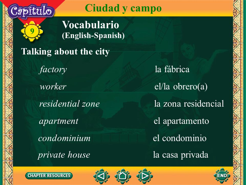 Ciudad y campo Vocabulario Talking about the city factory la fábrica