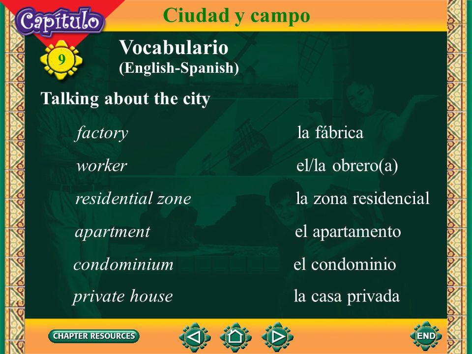 Ciudad y campo Vocabulario Talking about the city factory la fábrica