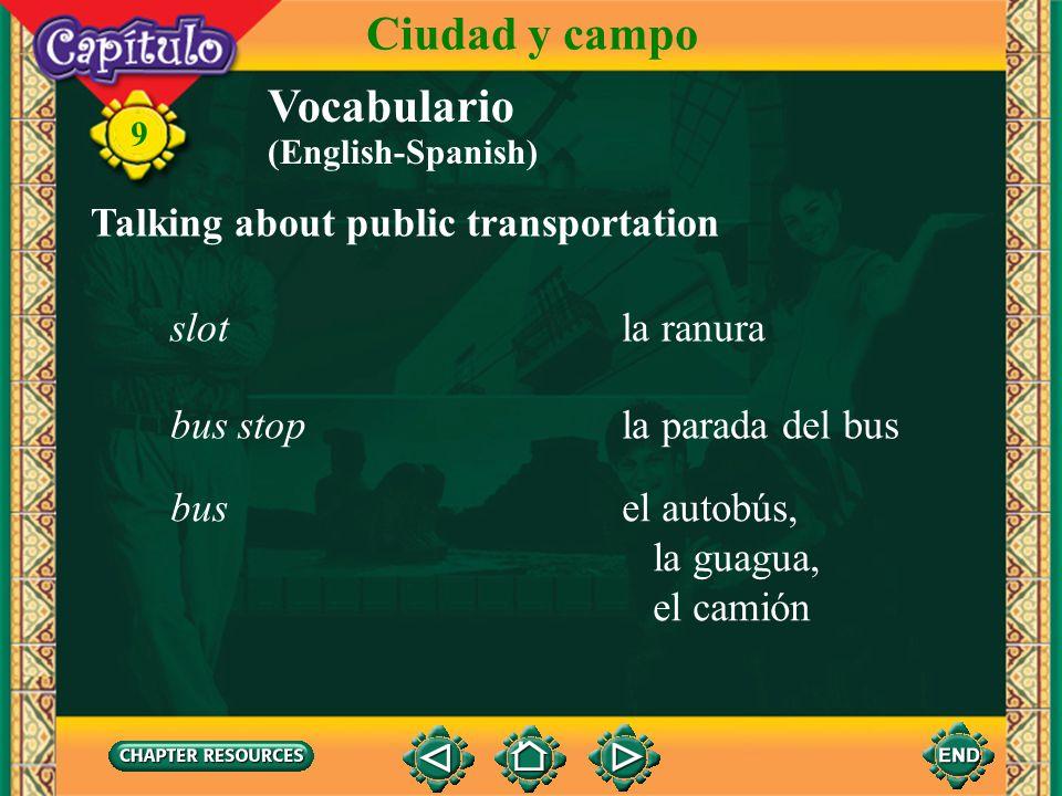 Ciudad y campo Vocabulario Talking about public transportation slot