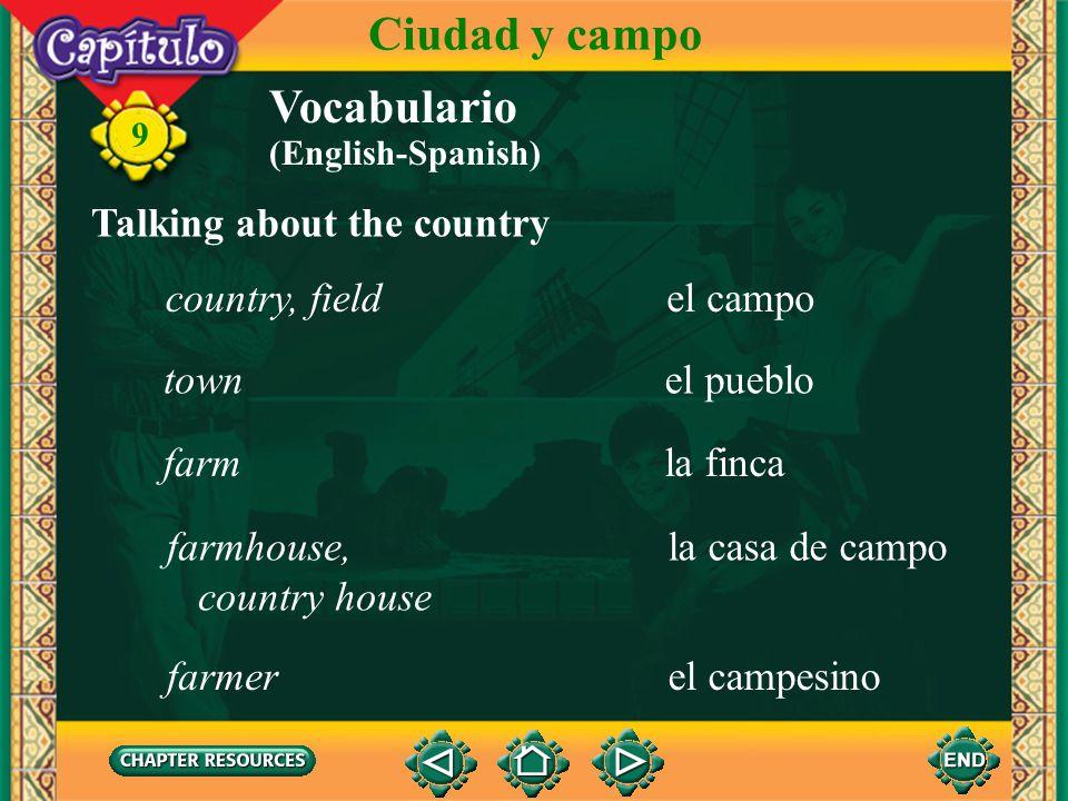Ciudad y campo Vocabulario Talking about the country country, field