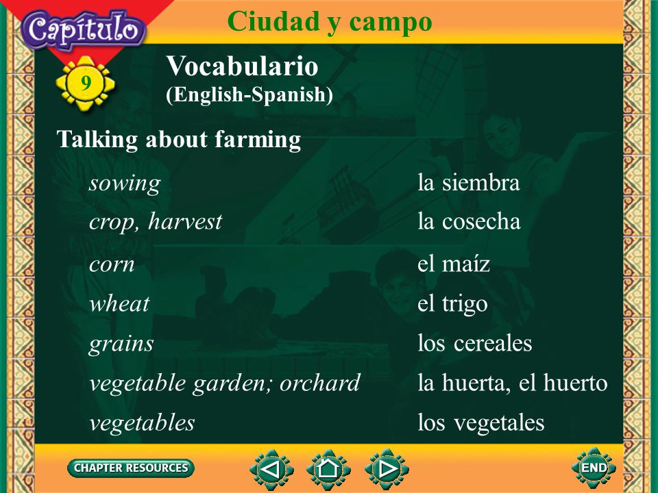 Ciudad y campo Vocabulario Talking about farming sowing la siembra