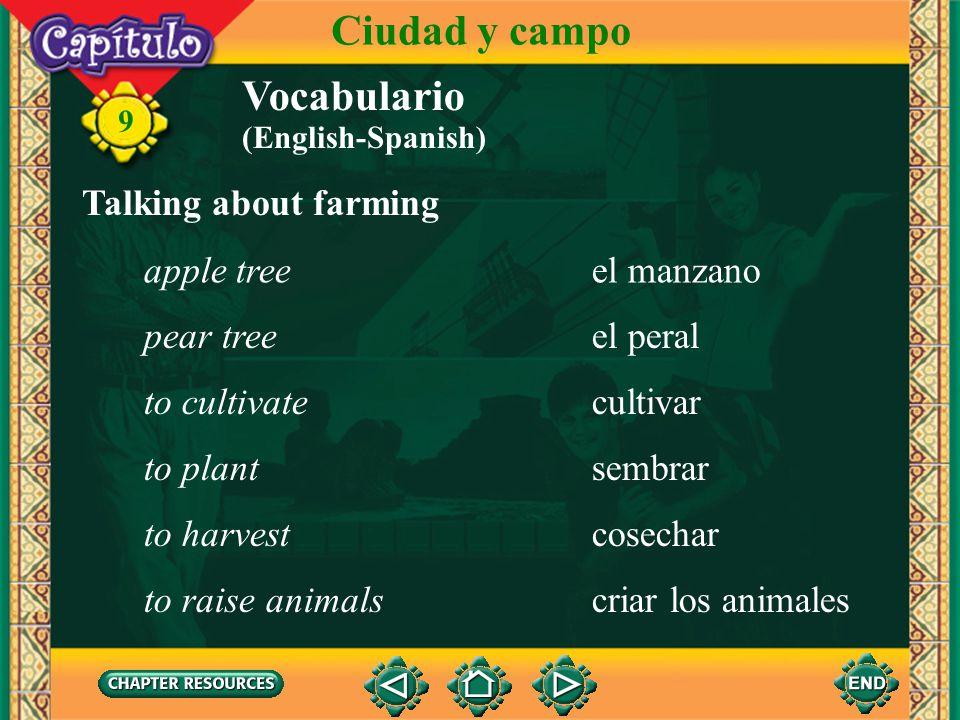 Ciudad y campo Vocabulario Talking about farming apple tree el manzano