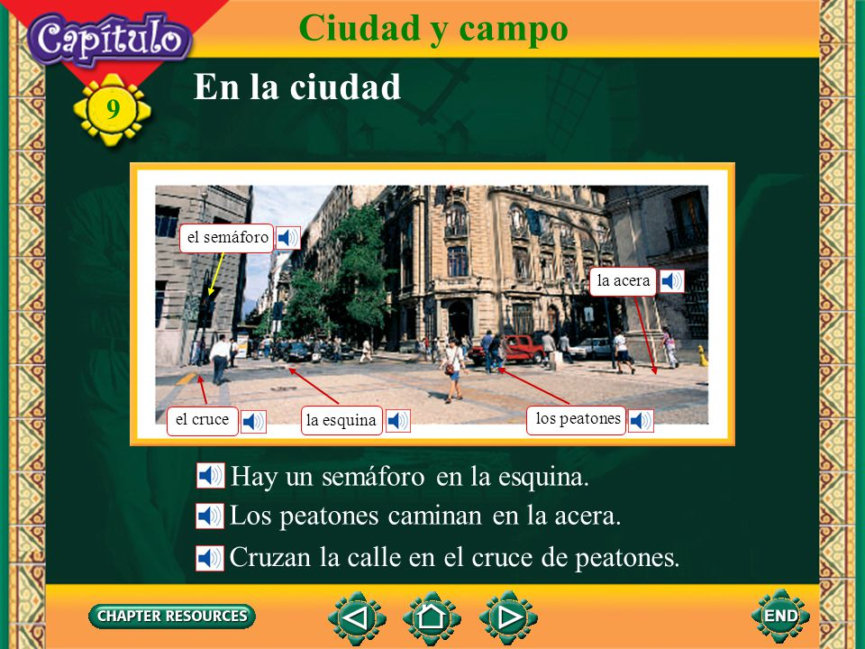Ciudad y campo En la ciudad Hay un semáforo en la esquina.