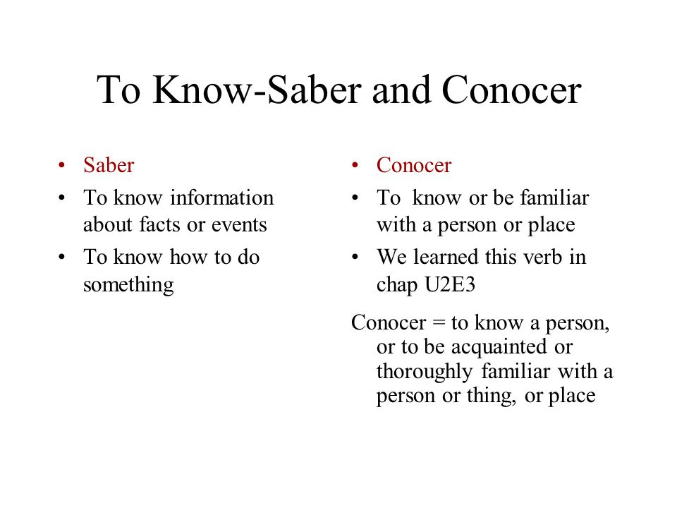 To Know-Saber and Conocer