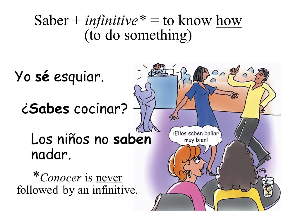 Saber + infinitive* = to know how (to do something)