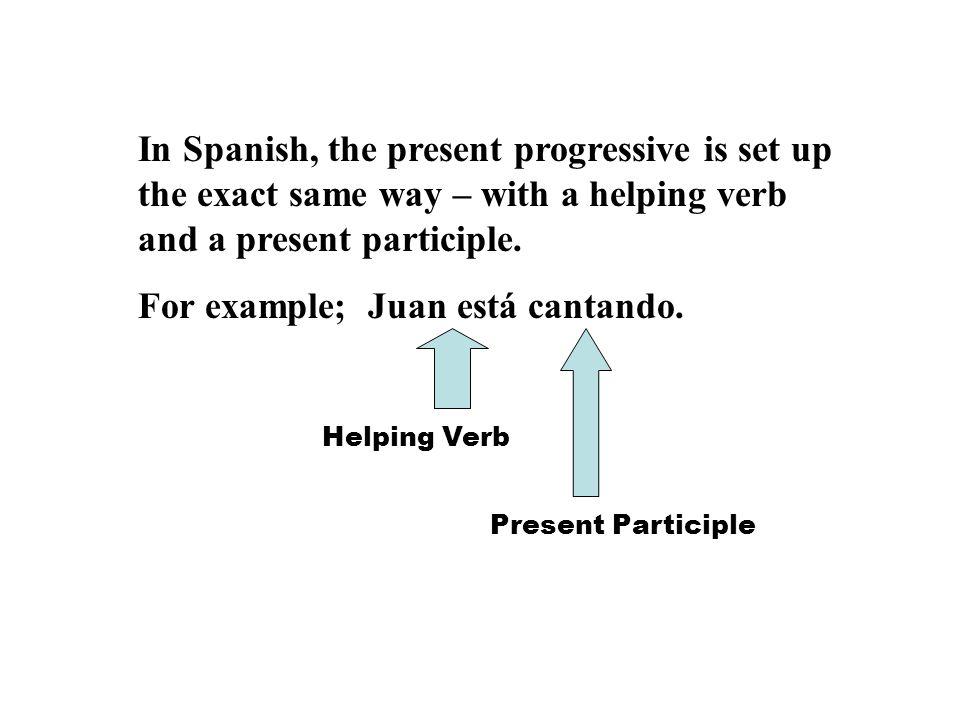 For example; Juan está cantando.