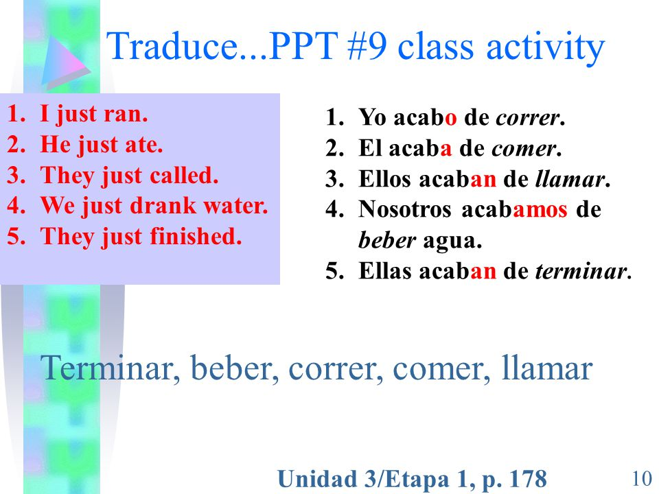 Traduce...PPT #9 class activity