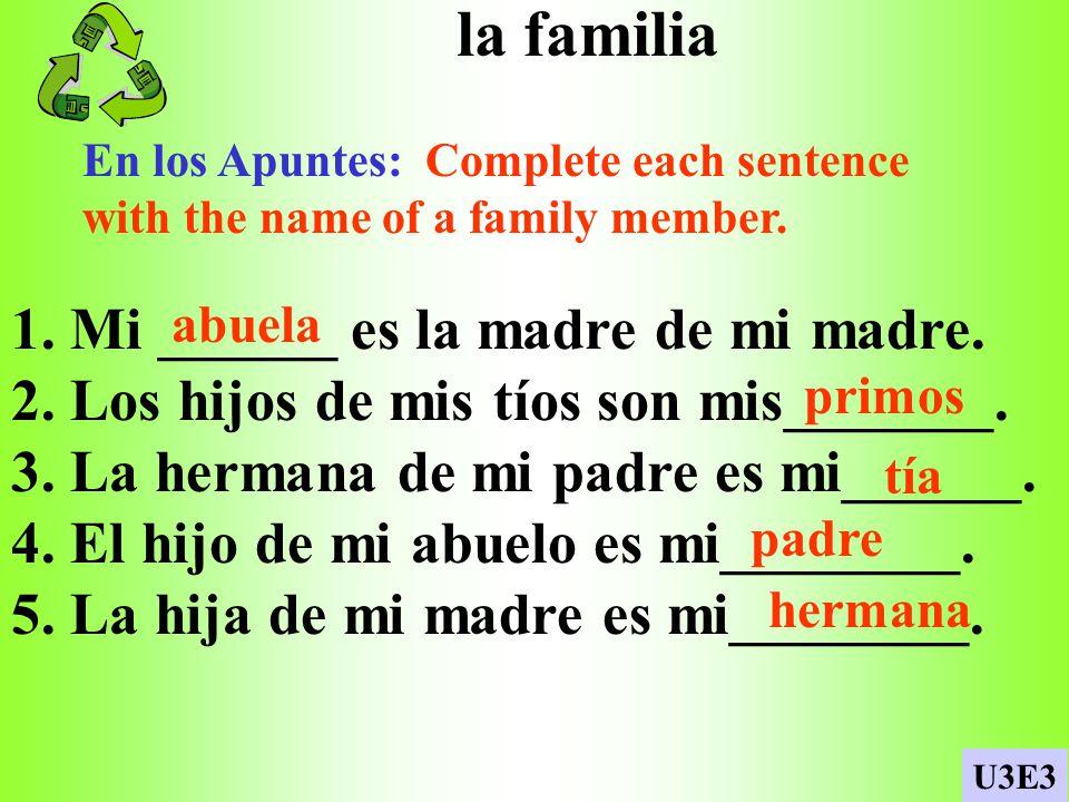 la familia 1. Mi ______ es la madre de mi madre.