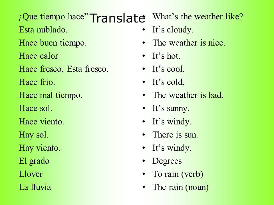 Translate ¿Que tiempo hace Esta nublado. Hace buen tiempo. Hace calor