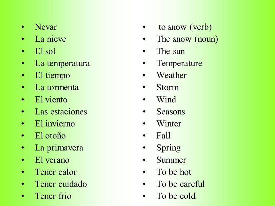 Nevar La nieve. El sol. La temperatura. El tiempo. La tormenta. El viento. Las estaciones. El invierno.