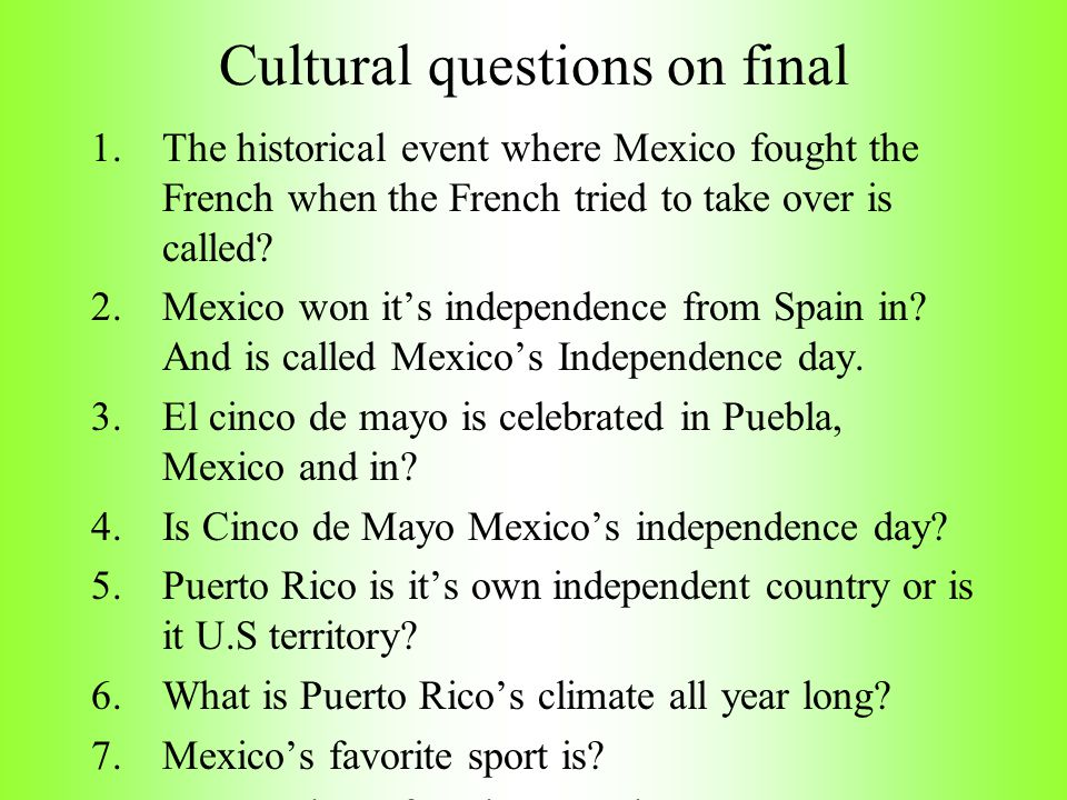 Cultural questions on final