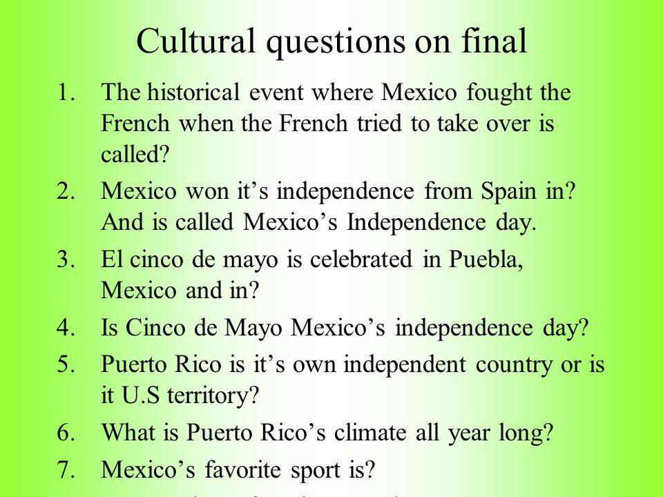 Cultural questions on final