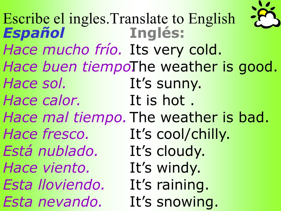 Escribe el ingles.Translate to English