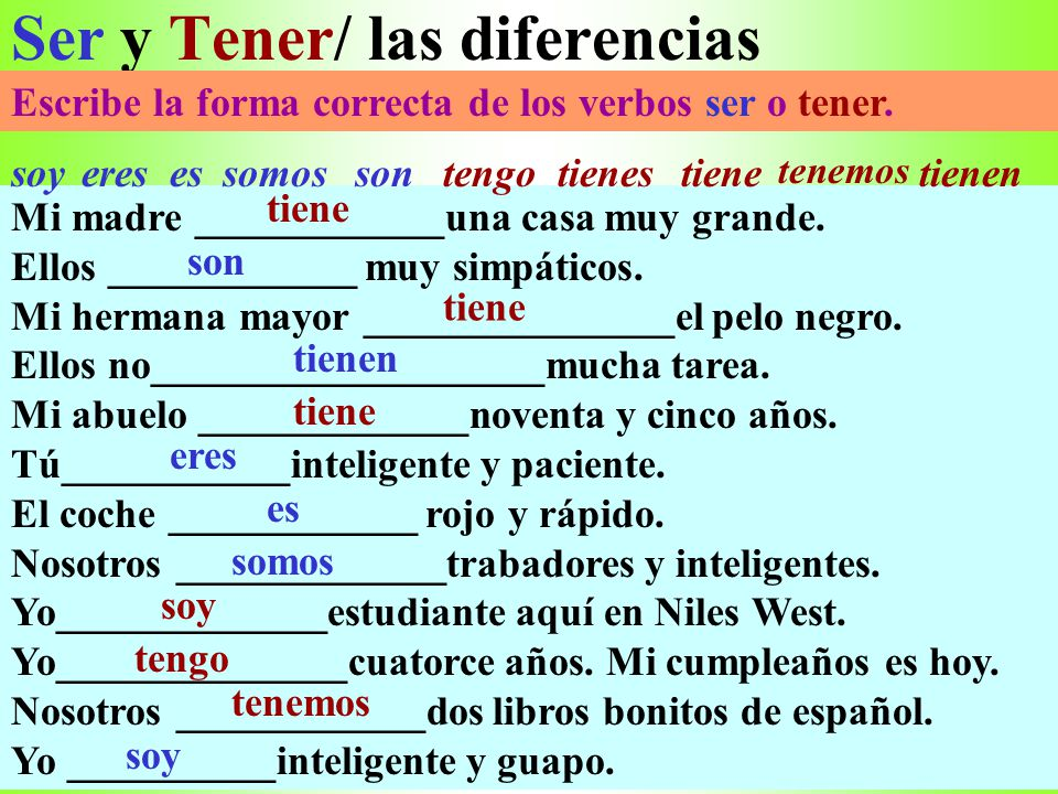 Ser y Tener/ las diferencias