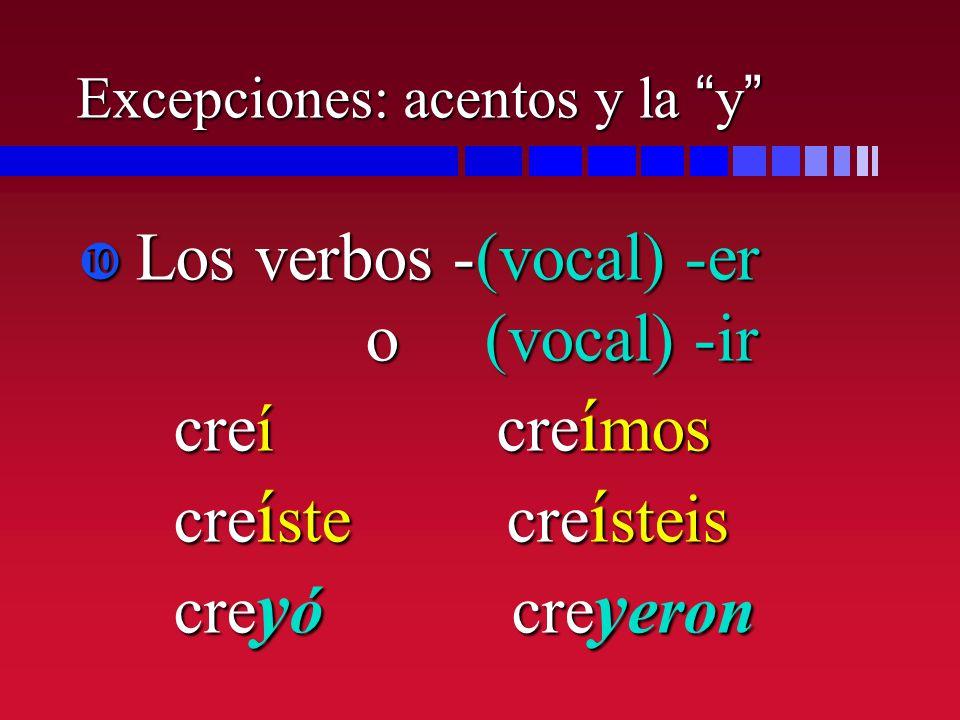 Excepciones: acentos y la y