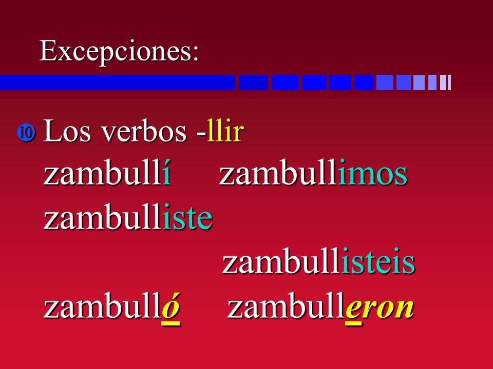 Excepciones: Los verbos -llir zambullí zambullimos zambulliste zambullisteis zambulló zambulleron.