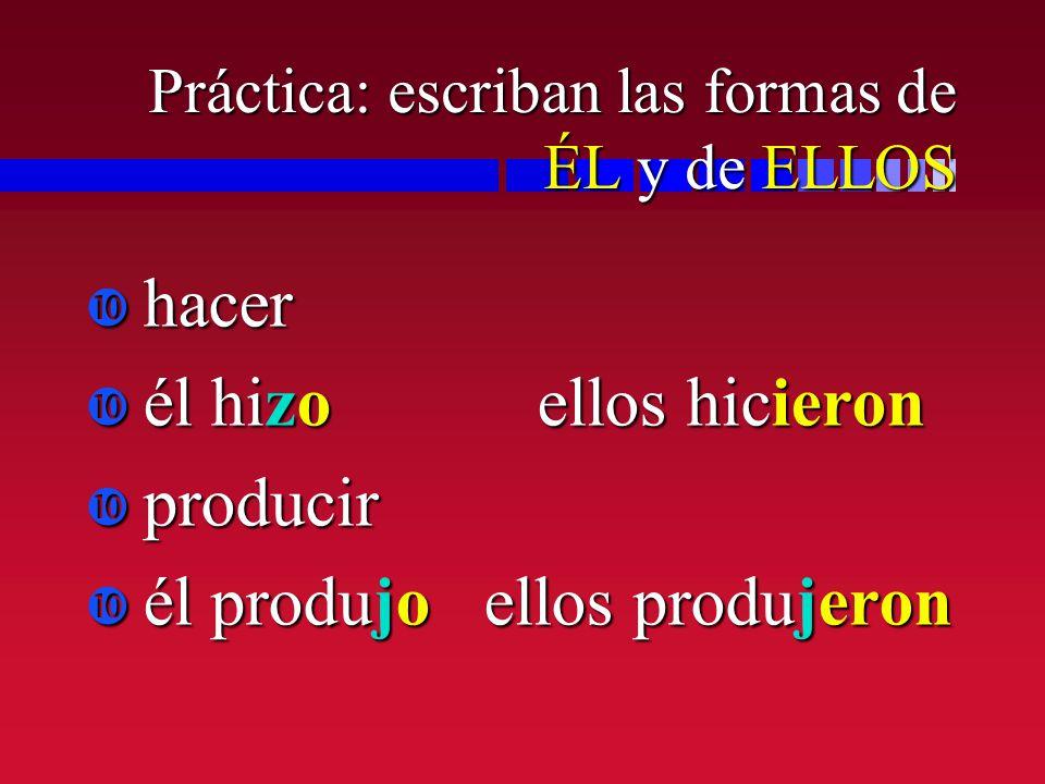 Práctica: escriban las formas de ÉL y de ELLOS