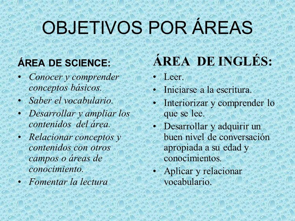 OBJETIVOS POR ÁREAS ÁREA DE INGLÉS: ÁREA DE SCIENCE: