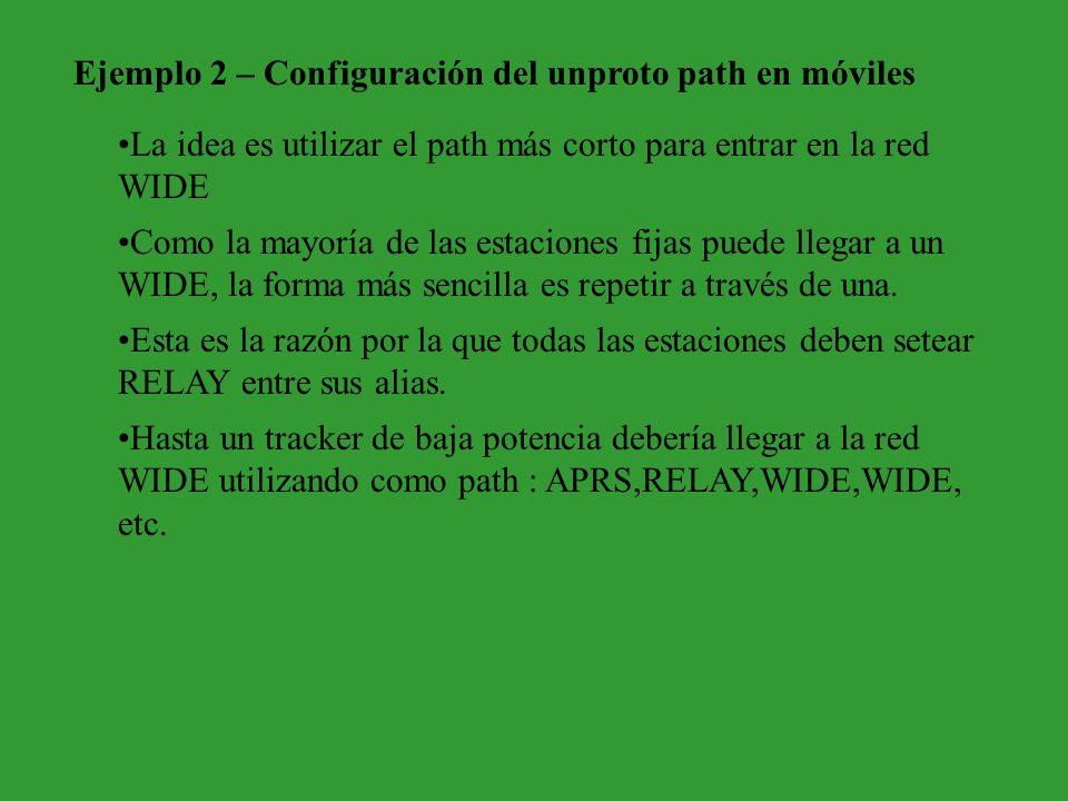Ejemplo 2 – Configuración del unproto path en móviles