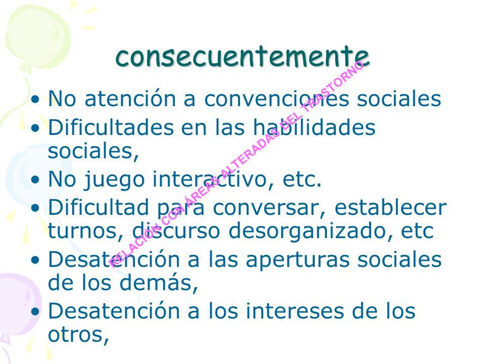 consecuentemente No atención a convenciones sociales
