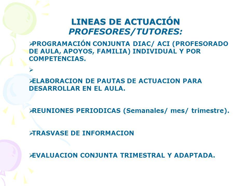 LINEAS DE ACTUACIÓN PROFESORES/TUTORES:
