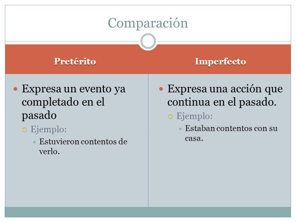 Comparación Expresa un evento ya completado en el pasado