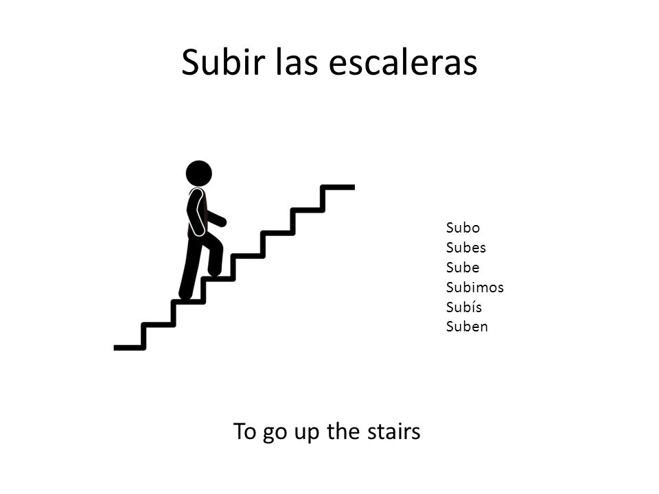 Subir las escaleras To go up the stairs Subo Subes Sube Subimos Subís